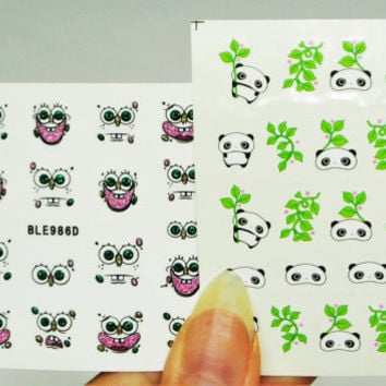 2 sheets Tarre Panda Nail Decal, Lazy panda Nails, water decals, Spongebob Nails, Spongebob face Nail Art, Nail Design,  Nails, Nail Decal