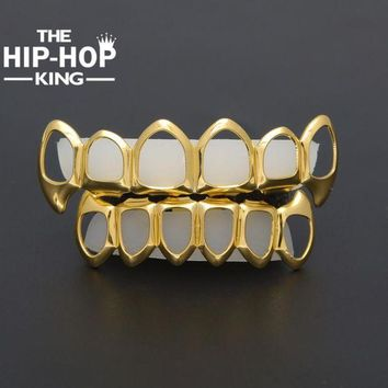 ac ICIKO2Q Gold Color Hip Hop Teeth Grillz Hollow Top & Bottom Fangs Bottom Grillz Set Vampire Grills Sets Drop shipping