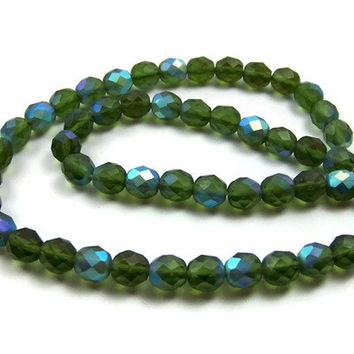 Faceted green glass beads, Czech 8mm aurora borealis, full strand (170G)