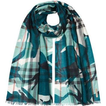 Tagre™ Burberry Painted Camo Check Gauze Scarf Teal $365