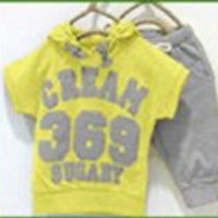 summer girls boys cream 369 children clothing set baby clothes short-sleeve T-shirt hoodies pant kids sport suit