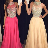 Long Prom Dresses 2017 Halter Sleeveless Backless Sweep Train Chiffon with Crystal Sexy 2016 A-line Party Dresses Evening Gowns