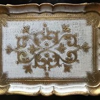 Vintage Florentine Tray Gold & Shabby White Made in Italy Marked
