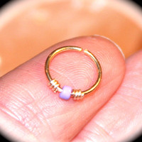 Lilac Beaded 14k Yellow Gold Filled Nose Ring, Cartilage Hoop, Tragus, Helix, Hex Endless Hoop