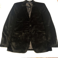 Angelino Gator Patterned Velvet Blazer