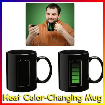 Fashion Color Change Morning Mug Black Battery Pattern Ceramic Mug Hot Cold Temperature Sensitive Cup Coffee Milk Tea Mug Gift