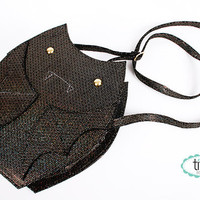 bat bags in black and multicolored glitter vegan leather