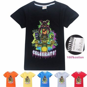 Fashion Summer Novelty Tees Kids T-shirt Cartoon Animal Printed Boys Shirts Cotton Five Night at Freddy Blouse Children Tops