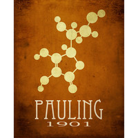 Linus Pauling 8x10 Science Art Print Molecular Structure, Molecule Diagram, Scientist Poster Steampunk Rock Star Scientist Geek Office Decor