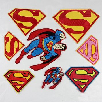 Super Hero Iron Man Superman Spiderman Batman 3D Embroidered Cartoon Iron On Patches For Clothes Parches Ropa Applique