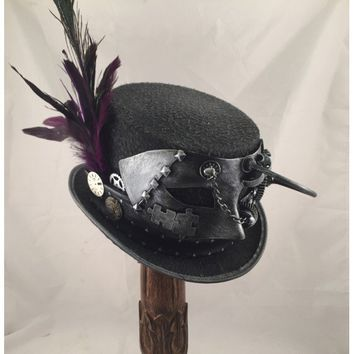 Steampunk Silver Top Hat with Steampunk Mask