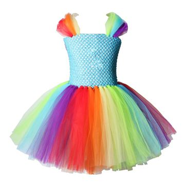 Little Horse Unicorn Inspired Tutu Dress Rainbow Princess Cartoon Tutu Dresses for Girls Kids Halloween Birthday Party Costume