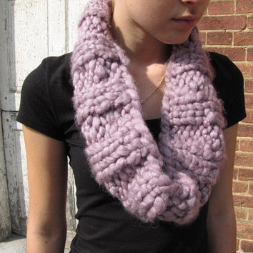 Lilac Handknitted Cowl | Neckwarmer | Infinity Scarf | Valentine | SUPER SOFT wool | thirty three inch round | Ready to ship | Gift for her
