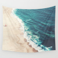 Beach Nazare Wall Tapestry by Ingrid Beddoes