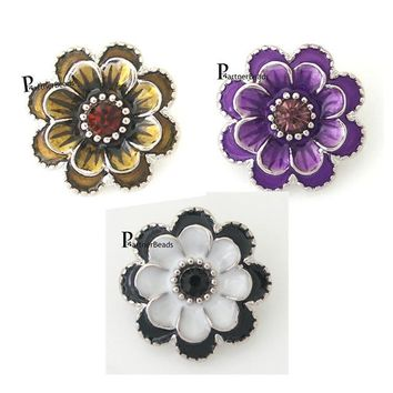 10pcs/lot hot sale metal flower button Interchangeable Ginger Snap Fit Button Snaps Bracelet or necklace Jewelry KB8776*10