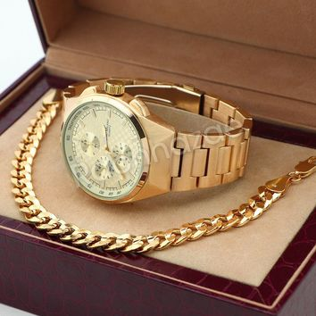 14K Gold PT Designer Bezel Metal Band Gold Watch Diamond Cut Cuban Bracelet G85G