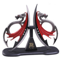 Fantasy Master Dragons Blade Display w/Wood Plaque