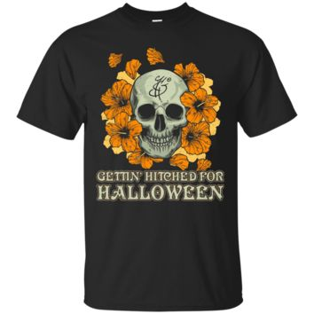 Getting' Hitched For Halloween Wedding Skull T Shirt