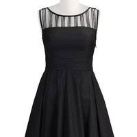Illusion pleated poplin dress