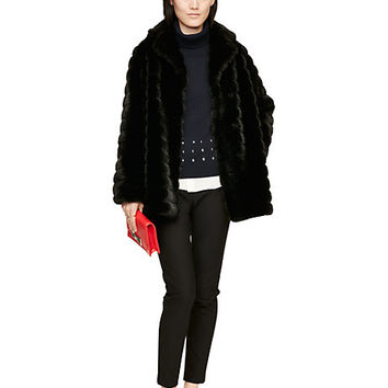 Kate Spade Faux Mink Coat Black