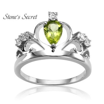 Royal Crown Ring Water Drop Birthday Natural Stone Peridot 925 Sterling Silver Ring for Wedding Gift Fine Jewelry SSPR001