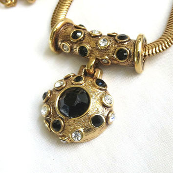 Vintage Black & Clear Rhinestone Pendant Slide Mesh Necklace