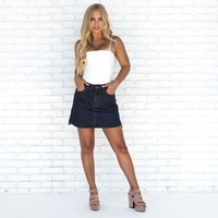 Julia Asymmetric Denim Skirt