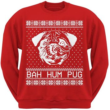 Bah Hum Pug Ugly Christmas Sweater Red Adult Crew Neck Sweatshirt