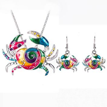 Psychedelic Crab Necklace & Earring Set