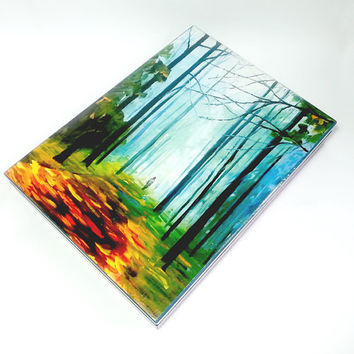 Autumn valley box for A4 documents office gift idea decoupage painting gift idea elegant box turquoise box