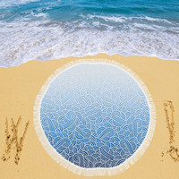 """Ombre blue and white swirls doodles Circular Beach Shawl 59""""x 59"""" 