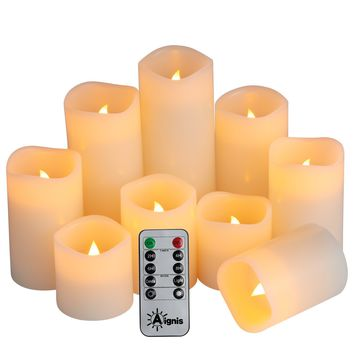 "Flameless Candles Set of 9 (D 3"" x H 3""4""5""6""7""8"") Battery Candle Real Wax and 10-key Remote Timer by Aignis"