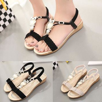 Womens Flat Bohemian Strappy Sandals