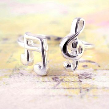 Cute Treble Clef and Pair of Sixteenth Notes Adjustable Ring in Sterling Silver