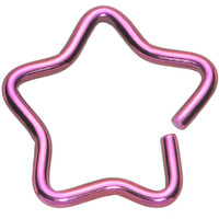 """16 Gauge 3/8"""" Pink Hollow Star Closure Daith CartilageTragus Earring 