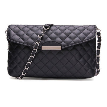 Women Quilting Chain Black Crossbody Bag