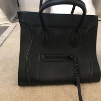 Authentic Celine Phantom Women Black Tote Leather Bag