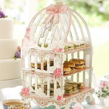 Birdcage Style Bow Pastries Cake Stand