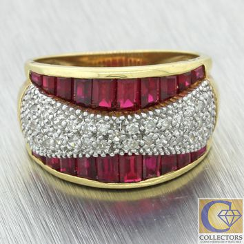 Vintage Estate Solid 14k Yellow Gold 1.35ctw Ruby Pave Diamond Wide Band Ring