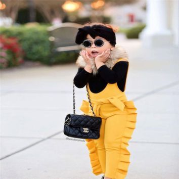 Yellow Jumpsuits Toddler Girl Ruffle Romper
