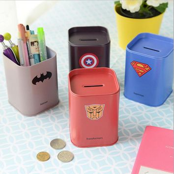 Pencil Vase Europe The Avengers Originality Gift Tinplate Money Box Cartoon Soldier Piggy Bank Stationery Pen Container