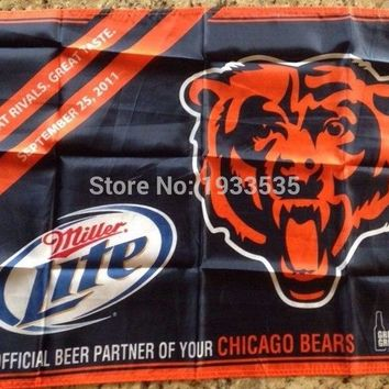 Chicago Bears FOOTBALL TAILGATE FLAG MILLER LITE Beer Great Rivals 2011 3x5ft banner flags