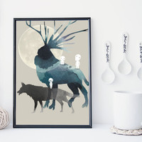 Princess mononoke art print, Miyazaki print, wall art, studio ghibli,  forest spirit, totoro, watercolor art print, home wall decor, gift