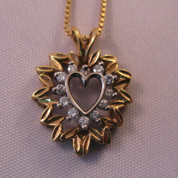 Diamond Heart Necklace -Pendant, 18k Yellow and White Gold with 18k Free Gold Chain - Valentine gift