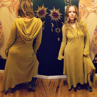 Boho/Maxi Thermal Hooded Dress with Extra Long Sleeves/Hand Dyed in Amber M/L