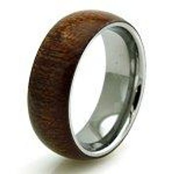 Stainless Steel Mahogany Wood Inlay Men's Wedding Band