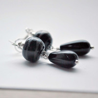 Black Glass Drop Earrings, Artisan Lampwork Beaded, Dangle Earrings, Teardrop Earrings, Sterling Silver