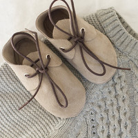 Light grey suede baby moccasins with shoelaces  Infant, newborn, toddler shoes