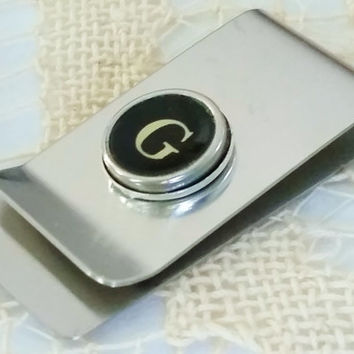 Initial G Money Clip, Antique Letter G Typewriter Key, Men's G Accessory, Father's Day Gift, Mens Stainless Steel Money Clip, Gift for Man