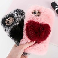 3D Love Heart Rabbit Fur Plush Case For iPhone XR XS Max 6s 7 8 Plus Warm Bunny Fluff Back Cover For iPhone 4 5 SE 5C Phone Case